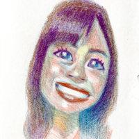 「色鉛筆でグリザイユ画法で塗る」石原さとみ(似顔絵)