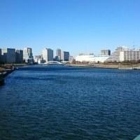 今日の隅田川風強
