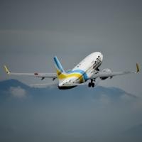 Rwy 09 アプローチの様子   Solaseed Air.   JA802X.  那覇から到着