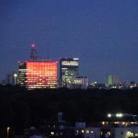 今日は夕焼けがビルに映って美しかったです。