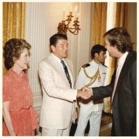 ○ An old picture with Nancy and Ronald Reagan.    @realDonaldTrump