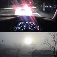 日の出前と朝霧の中で