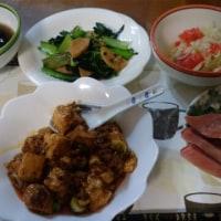 1月22日夕 麻婆豆腐、小松菜とウィンナーのオイスターソース炒め
