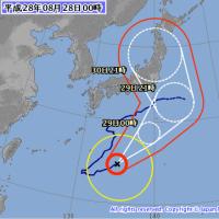 要注意:福島第一原発直撃可能性、非常に強い台風10号が史上初の東北太平洋岸初上陸という進路予想。
