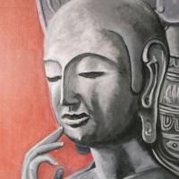「弥勒菩薩の微笑」「油彩p-12号」