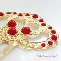 新商品アップしました『◆一点のみ◆スペイン直輸入 フラメンコ櫛 ペイネタ 6402ゴールドカラー+赤』