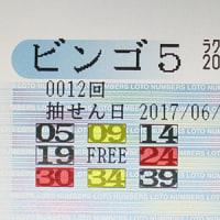ビンゴ5第12回の購入数字と抽選結果