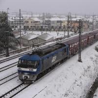 雪のJR京都線で貨物も撮影~名神クロスにて_17/01/15