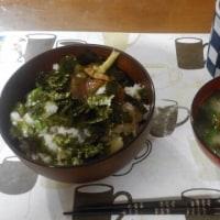 6月26日夕 まぐろホタテ&おくらとなめこの山芋和え丼