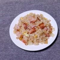 つまみ 玉葱とベーコンの生姜味炒飯