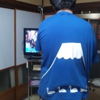 富士山のTシャツを着た男