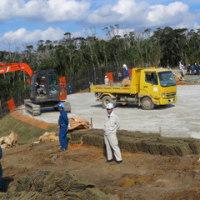 H地区とG地区のヘリパッド建設現場の状況。