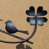 四つ葉のクローバー×小鳥さんを組み合わせたデザインの表札