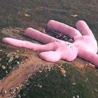 20年耐えられるか…?山腹に登場した巨大なウサギのぬいぐるみ イタリア