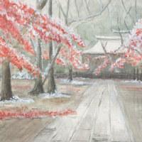 初雪の日の東漸寺紅葉