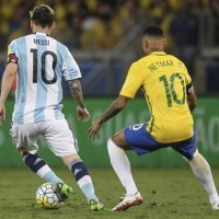 Messi hit the ball