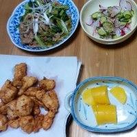 今日の朝食(6月21日)若鶏のカラアゲ