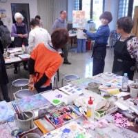 日曜アートセミナー「簡単な技法で描く抽象画入門」レポート