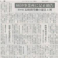 #akahata 6659事業所に是正勧告/厚労省 長時間労働の違法4割・・・今日の赤旗記事