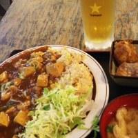 習志野市 大久保 まんぷく食堂 麻婆炒飯とビール