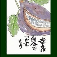 あけび(絵手紙)