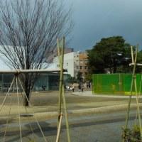 観光客が多くって、芝生がダメになったそうです。21世紀美術館。