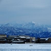 晴れた昨日午後の立山連峰、午後3時を過ぎるとピンクがかる・・・富山市・上市町