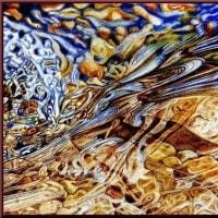 色鉛筆画342 (川のせせらぎ)