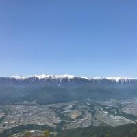 快晴の中川村、陣場形山。