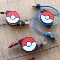 モンスターボールにLightning/microUSBを収納したポケモン公式USBケーブルがcheeroから