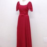 ロングドレス226 シフォンのお袖付きロングドレス 背中のアジャスターでスッキリフィット パーティードレス 演奏会 結婚式 ブラック