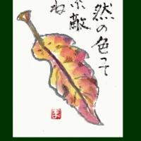 一枚の葉(絵手紙)