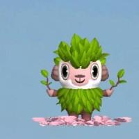 ひつじのしつじくんの桜コスプレに小変化。新緑仕様に変身!