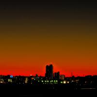 遠望の富士の夕暮れ