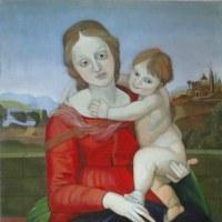 模写「カウパーの小聖母」(F10号、油彩)