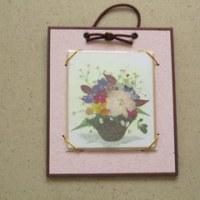 ミニ色紙に花かご(押し花)