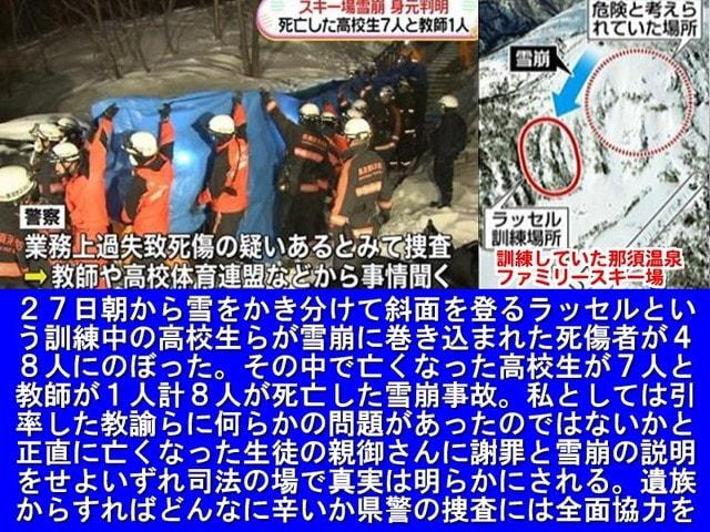 栃木県那須町のスキー場で県内7高校の山岳部が参加した「春山安全登山講習会」で8人を含む生徒と教員の計48人が積雪をかき分けながら歩く「ラッセル訓練中」に雪崩に巻き込まれた。講習会に参加し巻き込まれた県立大田原高山岳部の男子生徒7人と男性教員1人が死亡した。