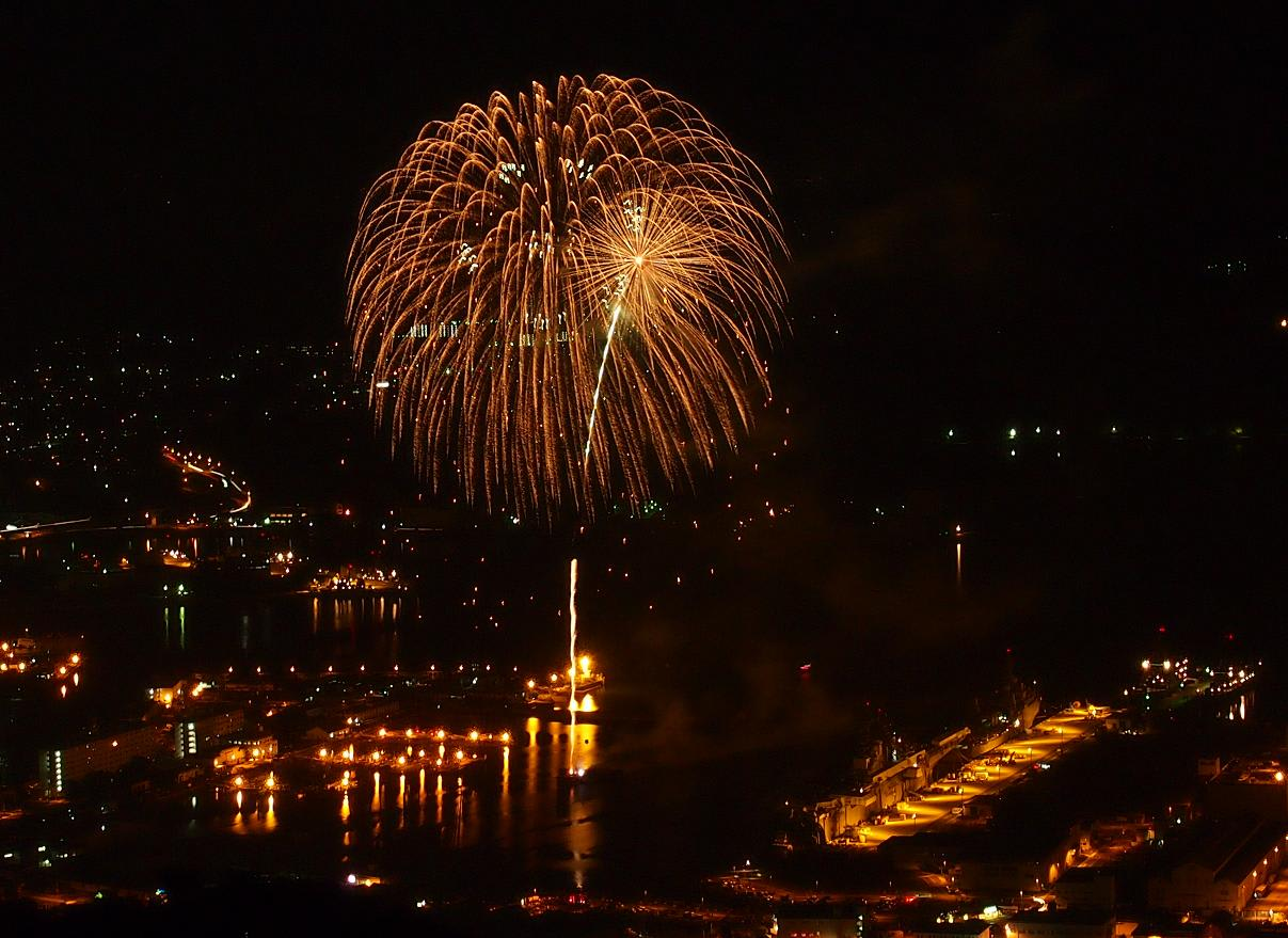 人気ブログランキングへ アメリカ海軍佐世保基地の打上花火 ~独立記念日(7/4)にちなんで~