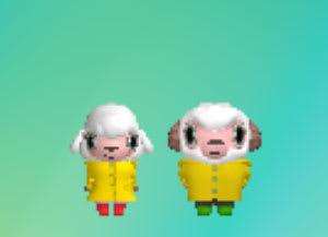 おしゃれひつじコースはお揃いの黄色いレインコート
