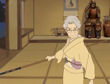 侘助に斬りかかろうとするおばあちゃん。