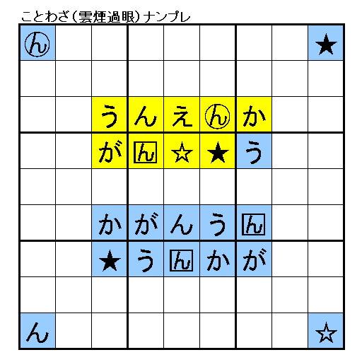 Q191 ことわざ「雲煙過眼」(うんえんかがん☆★) - いちごナンプレ研究所