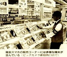 ビックカメラ新宿西店の格安スマホ販売コーナー