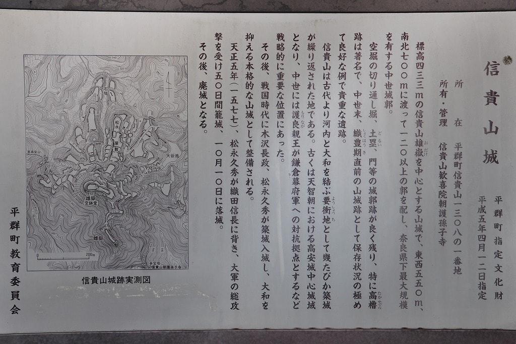 信貴山城址説明板