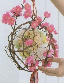 桃 造花 ボール状 飾り物