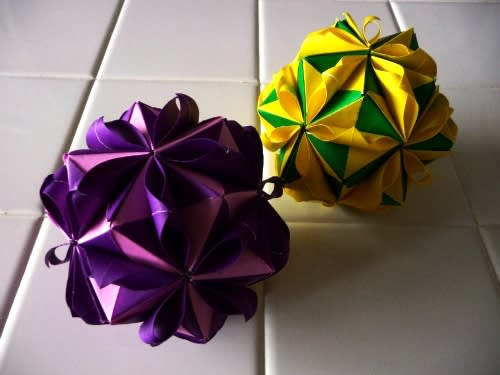 すべての折り紙 折り紙で箱 : 折り紙 くす玉の折り方4 ...