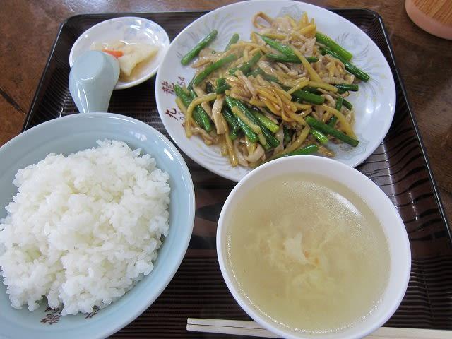 日替わり定食(ニンニクの芽と豚肉細切り炒め)