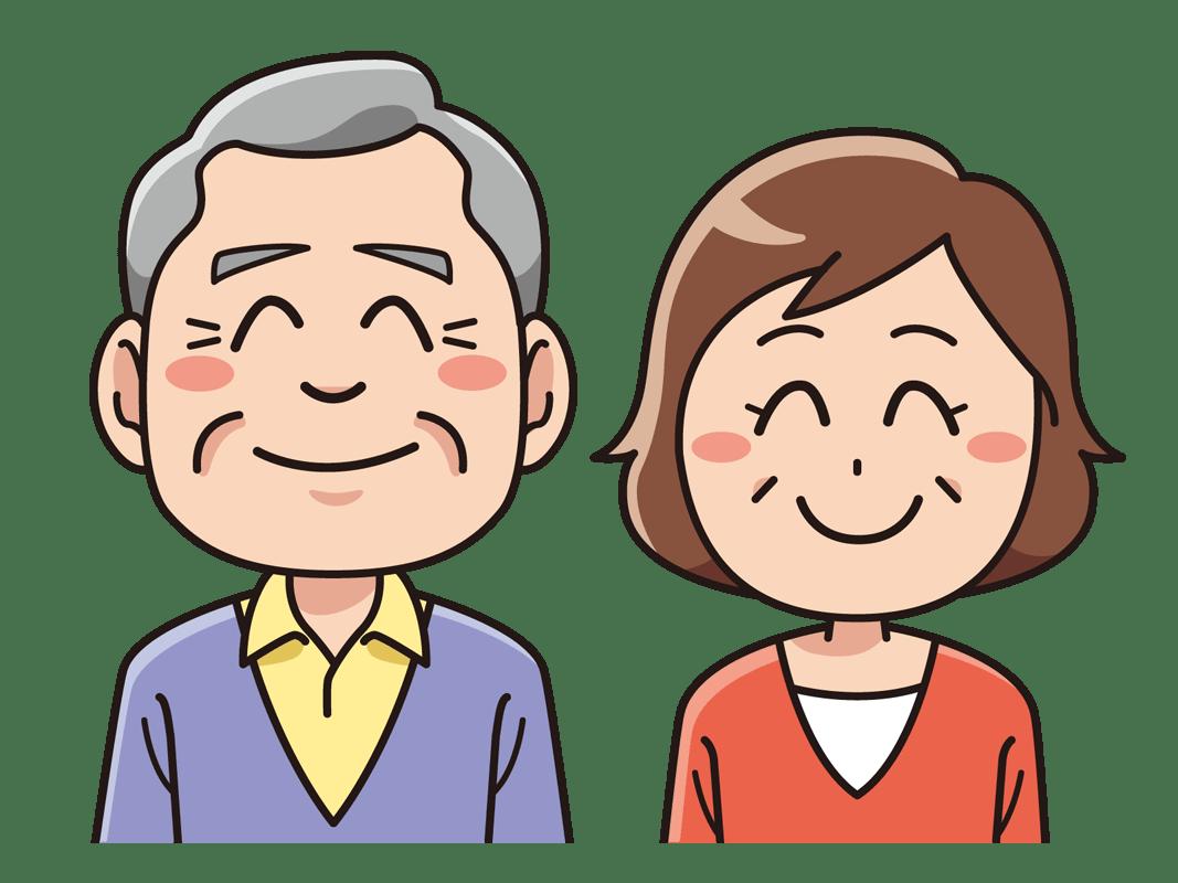 笑顔のシニア夫婦(無料イラスト素材) - イラスト素材図鑑