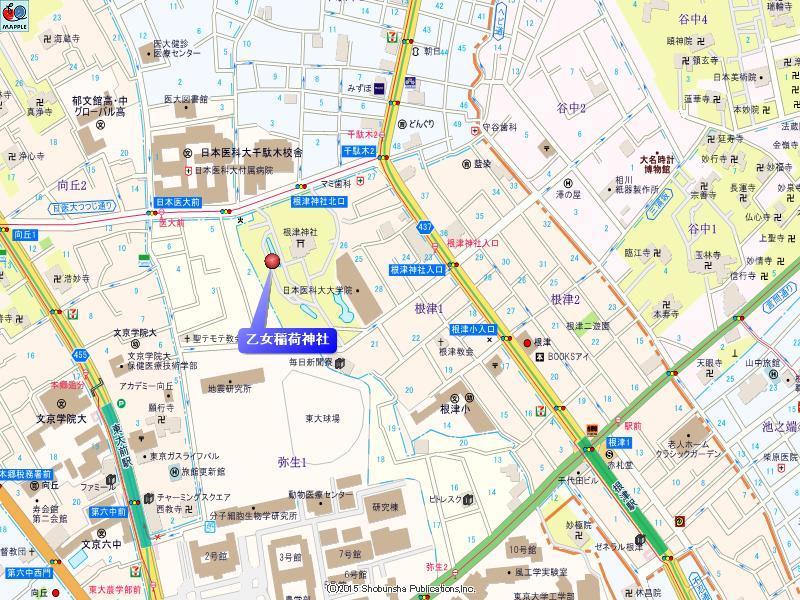 乙女稲荷神社の地図