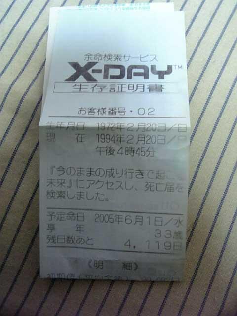 過ぎし日のX-DAY - 元ライターの...