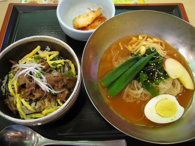 宗家キムチ冷麺(赤スープ)と焼肉丼